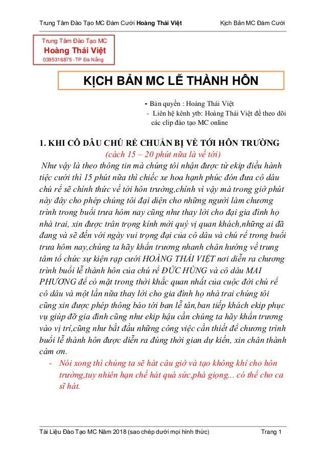 Trung Tâm Đào Tạo MC Đám Cưới Hoàng Thái Việt Kịch Bản MC Đám Cưới Tài Liệu Đào Tạo MC Năm 2018 (sao chép dưới mọi hình th...