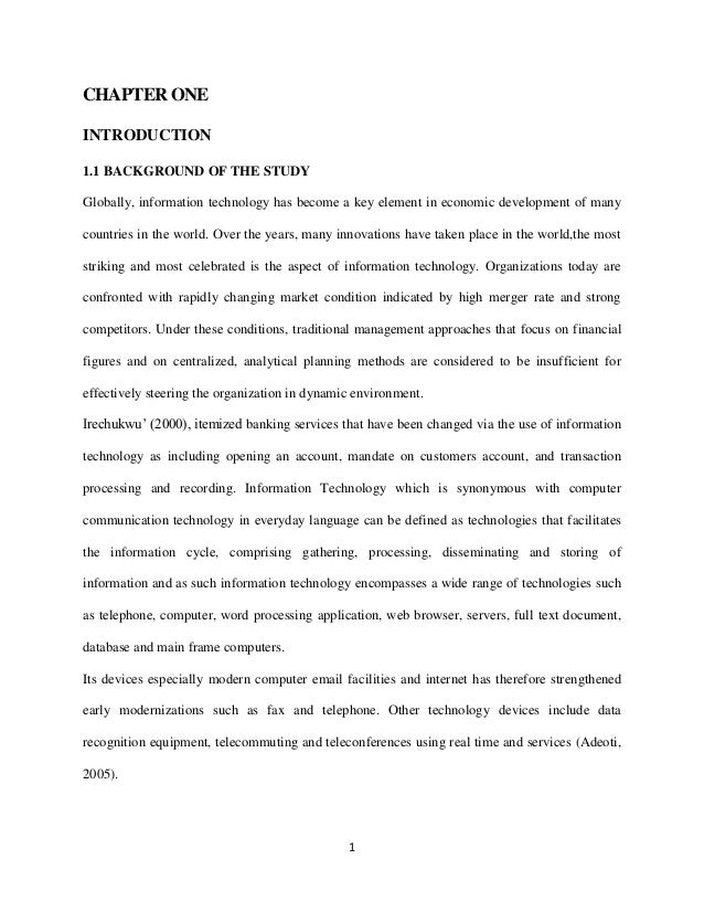 information technology banking thesis The role of information and communication technology ict)  international documents reflect science and technology and in some instances refer directly to icts.