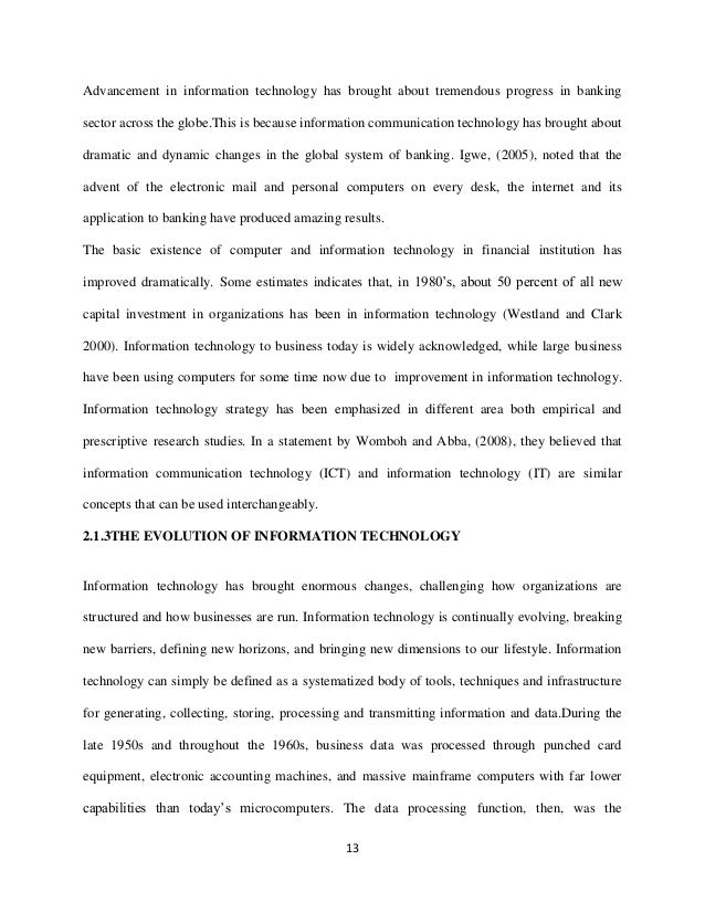 thesis the role of information technology on commercial banks in nig  13