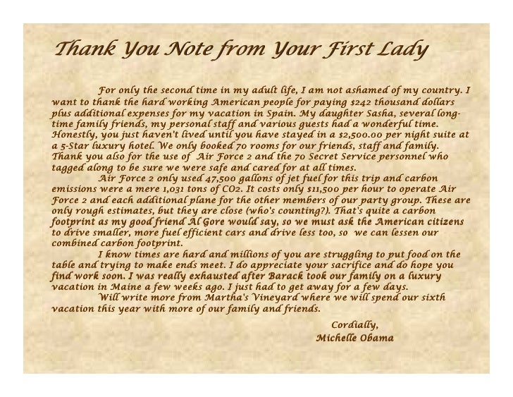 Thank You Note from Your First Lady           For only the second time in my adult life, I am not ashamed of my country. I...