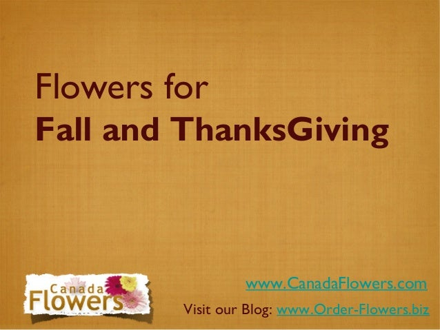 Flowers for Fall and ThanksGiving www.CanadaFlowers.com Visit our Blog: www.Order-Flowers.biz