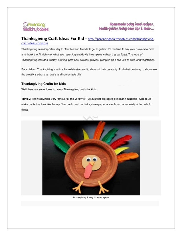 Thanksgiving Craft Ideas For Kid
