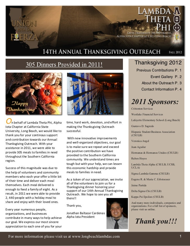 305 Dinners Provided in 2011!                                              Thanksgiving 2012                              ...