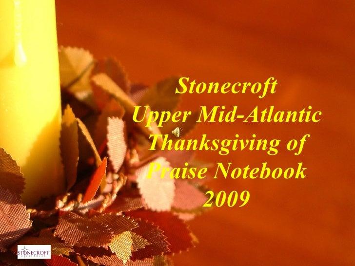 Stonecroft Upper Mid-Atlantic Thanksgiving of Praise Notebook 2009