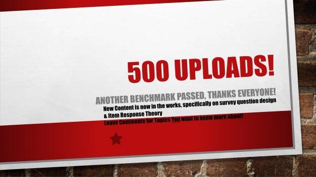 New Benchmark 500 Uploads!