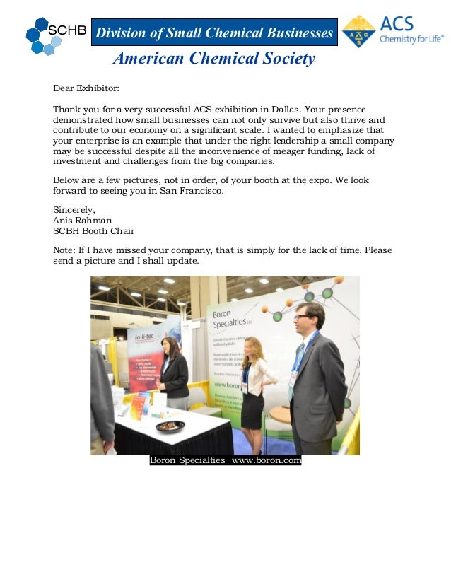 Division of Small Chemical Businesses American Chemical Society Dear Exhibitor: Thank you for a very successful ACS exhibi...