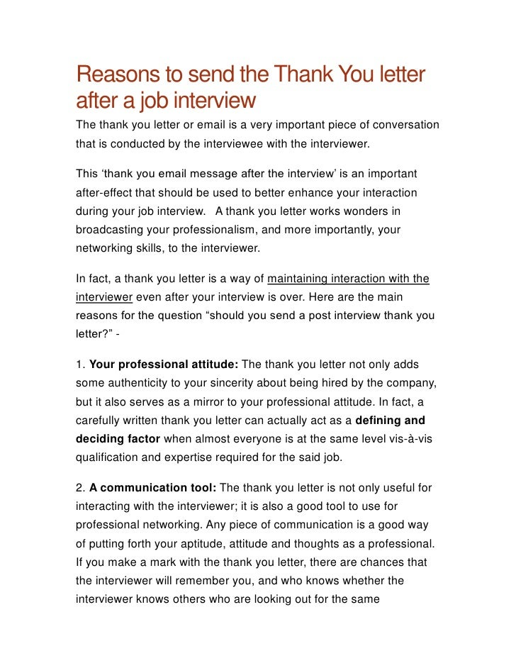 reasons to send the thank you letterafter a job interviewthe thank you letter or email is