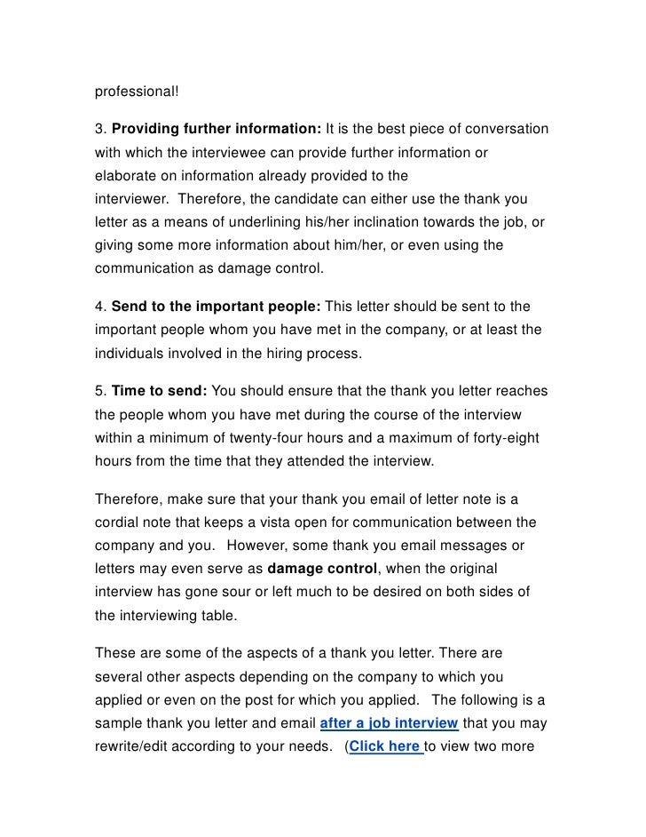 best thank you letter after interview template sample