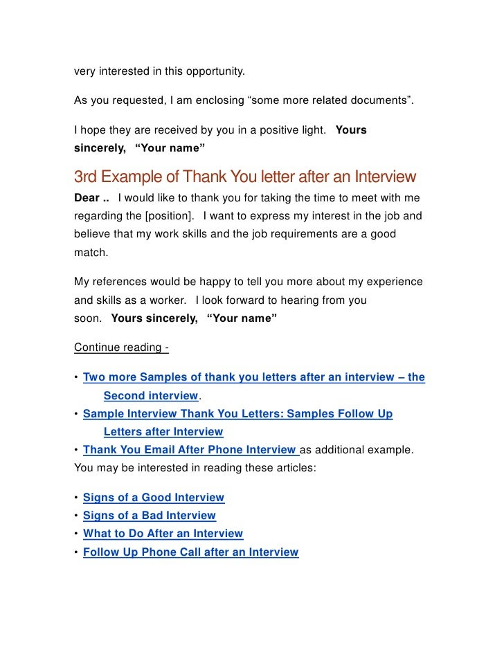 Job Interview Thank You Letter. Thank You Letter After Job