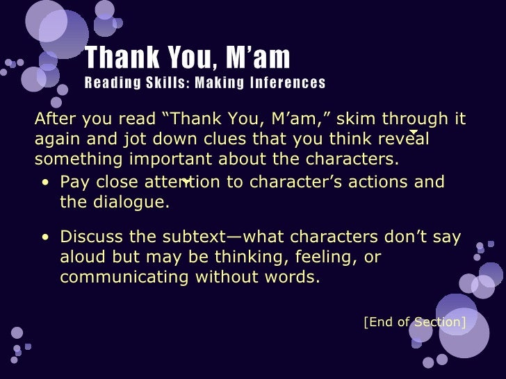 thank you mam Posted by: jockmackenzie | december 6, 2009 short story – thank you, ma'am by langston hughes.