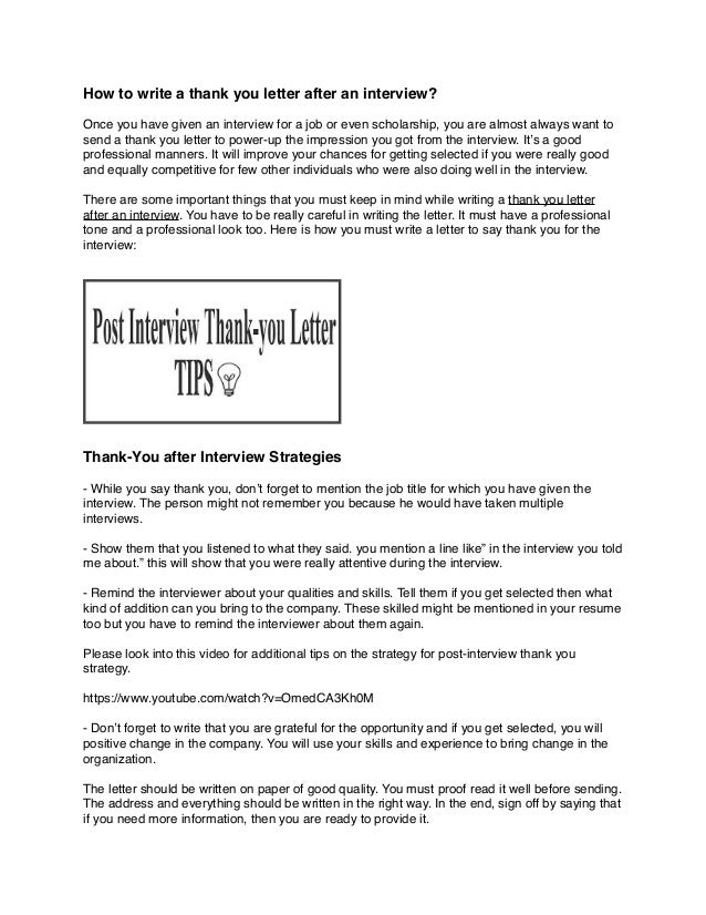 How to write a thank you message after interview for Do i bring a cover letter to an interview