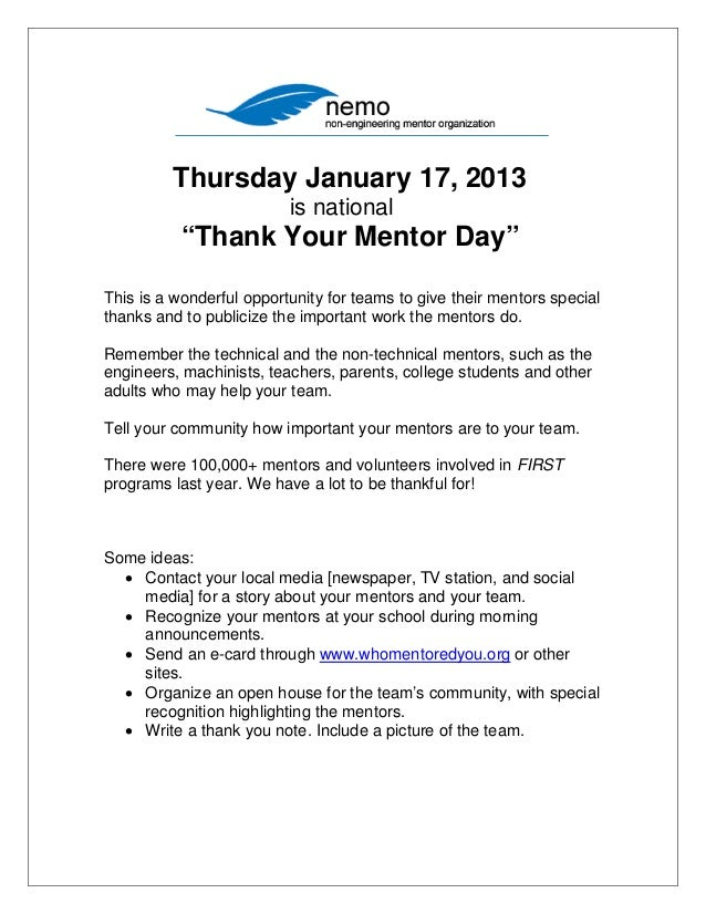 """Thursday January 17, 2013                          is national           """"Thank Your Mentor Day""""This is a wonderful opport..."""