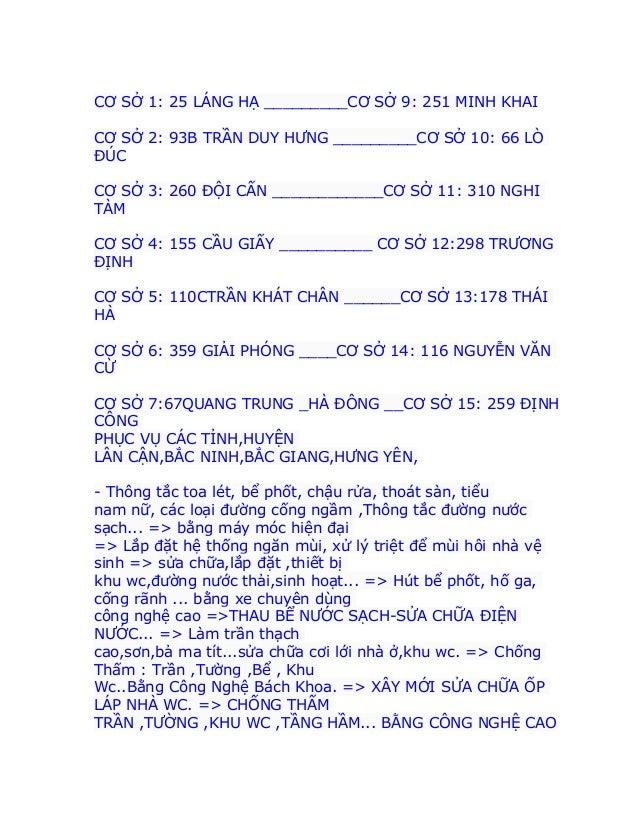 CƠ SỞ 1: 25 LÁNG HẠ _________CƠ SỞ 9: 251 MINH KHAI CƠ SỞ 2: 93B TRẦN DUY HƯNG _________CƠ SỞ 10: 66 LÒ ĐÚC CƠ SỞ 3: 260 Đ...