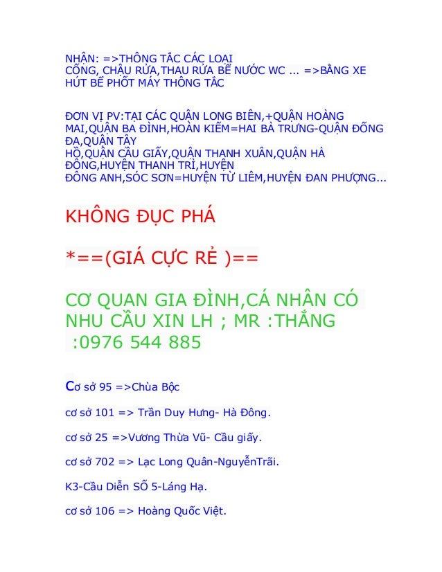 Thông tắc bồn cầu tại thái hà -thái thịnh 0976544885 thau rửa bể nước Slide 3