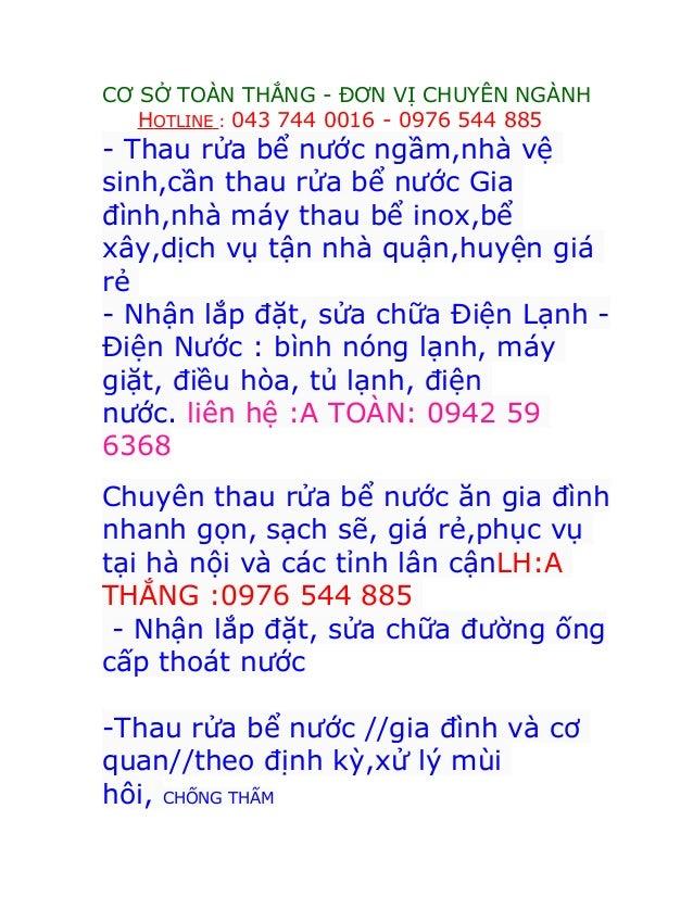 CƠ SỞ TOÀN THẮNG - ĐƠN VỊ CHUYÊN NGÀNH HOTLINE : 043 744 0016 - 0976 544 885 - Thau rửa bể nước ngầm,nhà vệ sinh,cần thau ...