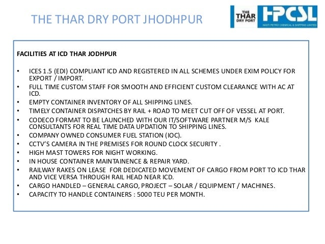 EXPORT IMPORT SHIPMENT VIA ICD THAR DRY PORT JODHPUR (RAJASTHAN) FRO…