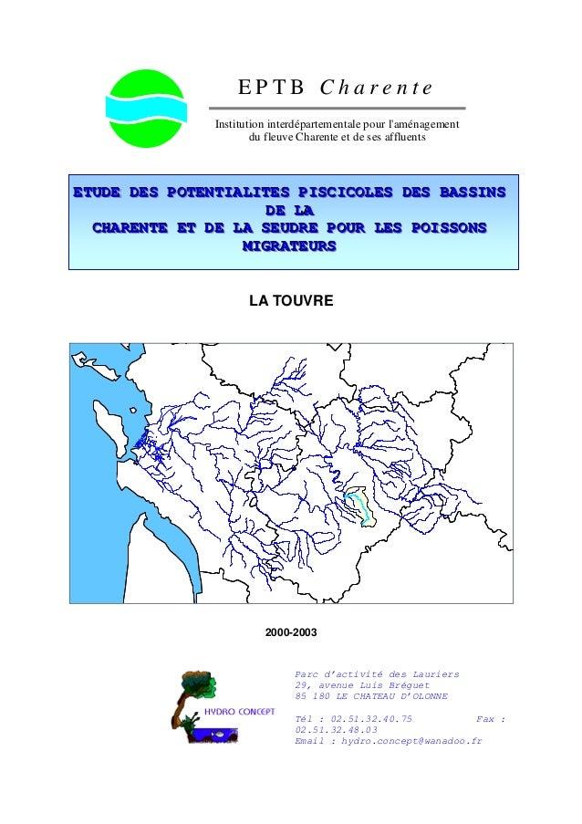 E P T B C h a r e n t e Institution interdépartementale pour l'aménagement du fleuve Charente et de ses affluents EEETTTUU...