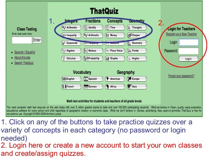1. Click on any of the buttons to take practice quizzes over a  variety of concepts in each category (no password or login...