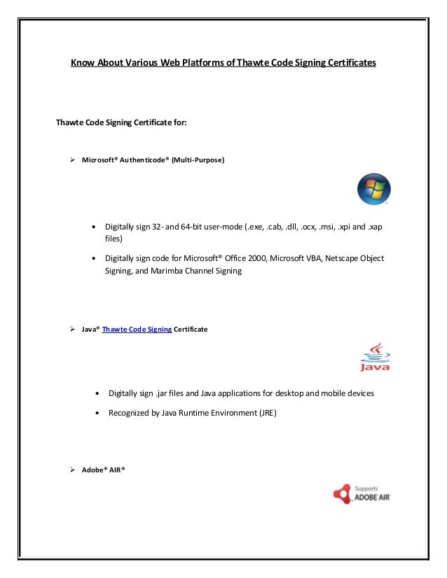 Know More About Thawte Code Signing Certificate From Rapidsslonline