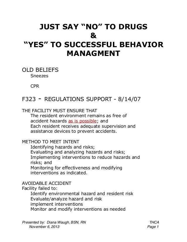"""JUST SAY """"NO"""" TO DRUGS & """"YES"""" TO SUCCESSFUL BEHAVIOR MANAGMENT OLD BELIEFS Sneezes CPR  F323  -  REGULATIONS SUPPORT - 8/..."""
