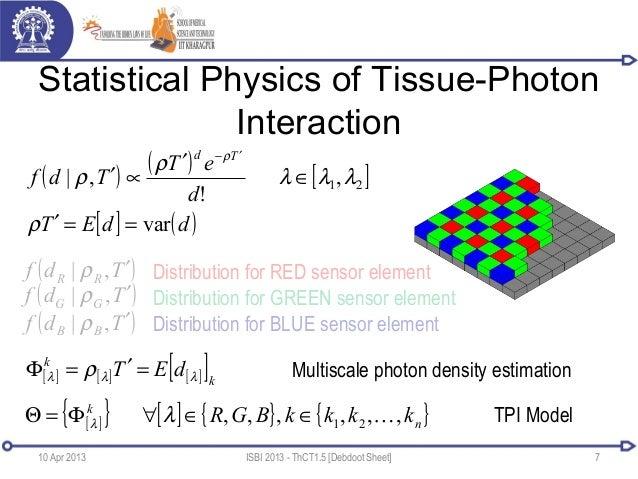 Statistical Physics of Tissue-PhotonInteraction10 Apr 2013 ISBI 2013 - ThCT1.5 [Debdoot Sheet] 7( ) ( ) [ ]21,!,| λλλρρρ∈′...