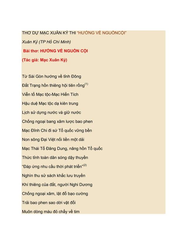 """THƠ DỰ MẠC XUÂN KỶ THI """"HƢỚNG VỀ NGUỒNCỘI""""Xuân Kỷ (TP Hồ Chí Minh)Bài thơ: HƯỚNG VỀ NGUỒN CỘI(Tác giả: Mạc Xuân Kỷ)Từ Sài ..."""