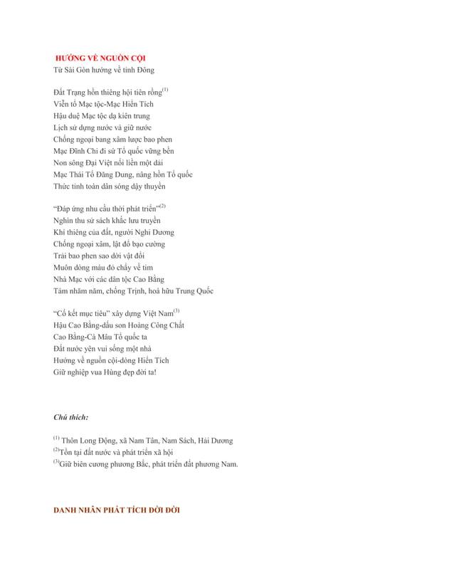 HƯỚNG VỀ NGUỒN CỘITừ Sài Gòn hướng về tỉnh ĐôngĐất Trạng hồn thiêng hội tiên rồng(1)Viễn tổ Mạc tộc-Mạc Hiển TíchHậu duệ M...