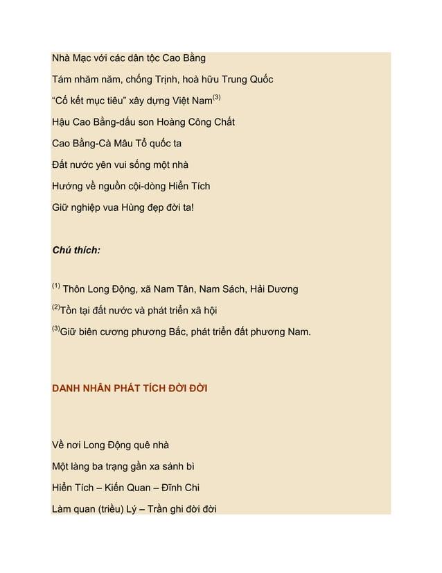 """Nhà Mạc với các dân tộc Cao BằngTám nhăm năm, chống Trịnh, hoà hữu Trung Quốc""""Cố kết mục tiêu"""" xây dựng Việt Nam(3)Hậu Cao..."""