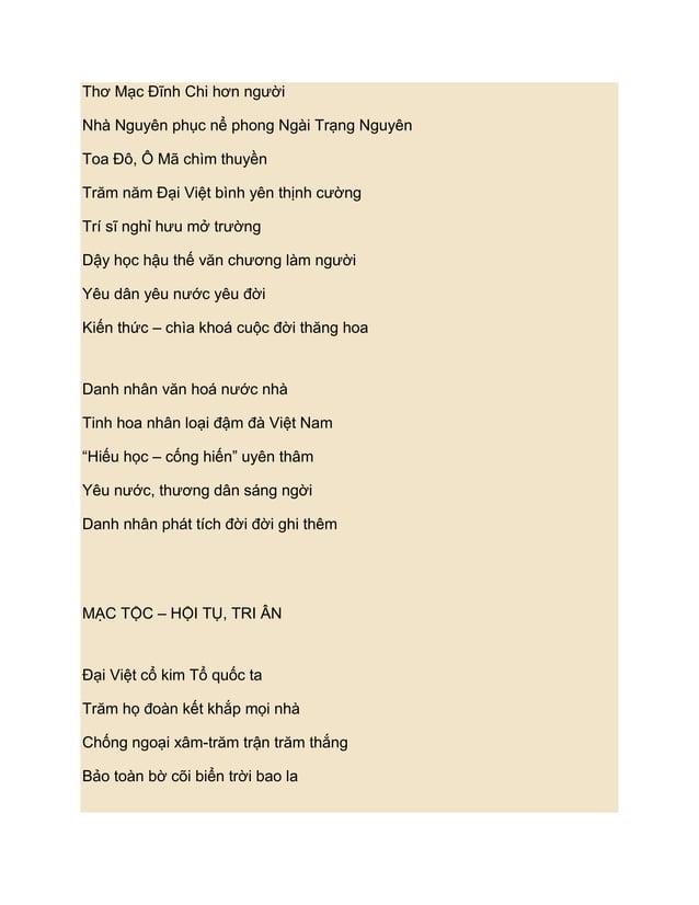 Thơ Mạc Đĩnh Chi hơn ngƣờiNhà Nguyên phục nể phong Ngài Trạng NguyênToa Đô, Ô Mã chìm thuyềnTrăm năm Đại Việt bình yên thị...