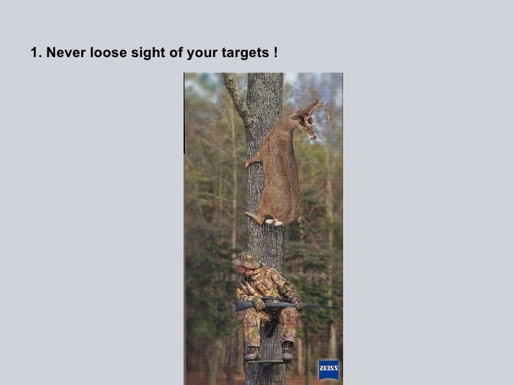 1. Never loose sight of your targets !