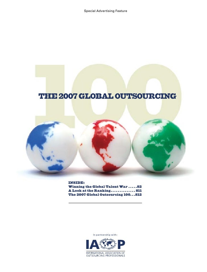Special Advertising Feature     THE 2007 GLOBAL OUTSOURCING          INSIDE:      Winning the Global Talent War  .  .  .  ...