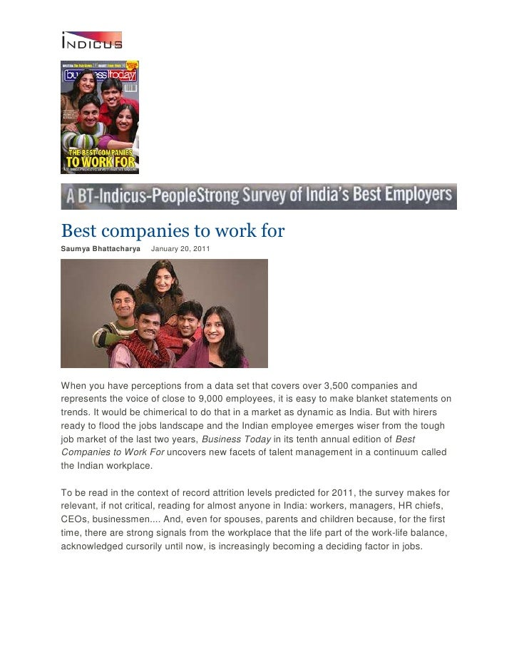 Best companies to work for<br />Saumya Bhattacharya January 20, 2011<br />When you have perceptions from a data set th...