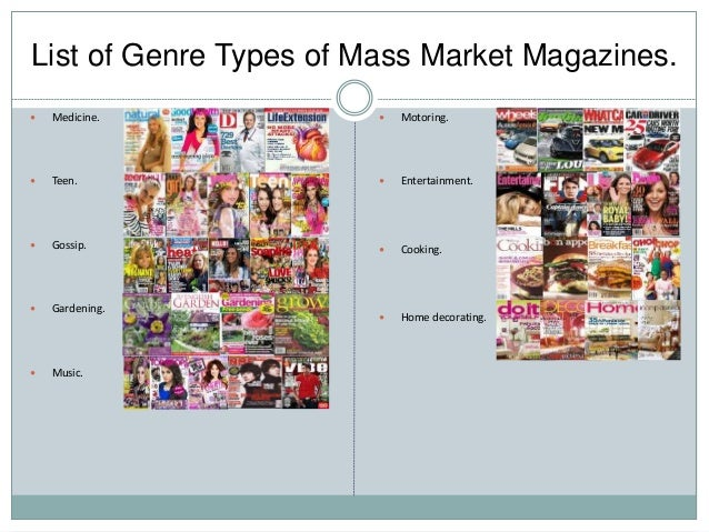 The generic conventions of magazines.