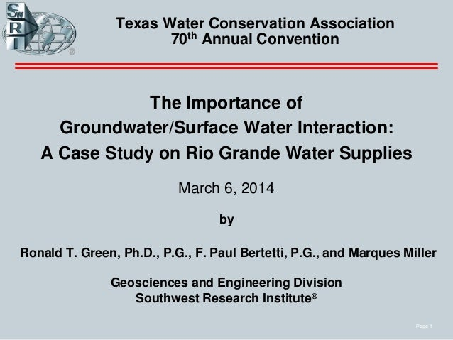 Page 1 Texas Water Conservation Association 70th Annual Convention The Importance of Groundwater/Surface Water Interaction...