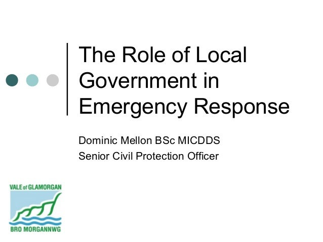 The Role of LocalGovernment inEmergency ResponseDominic Mellon BSc MICDDSSenior Civil Protection Officer