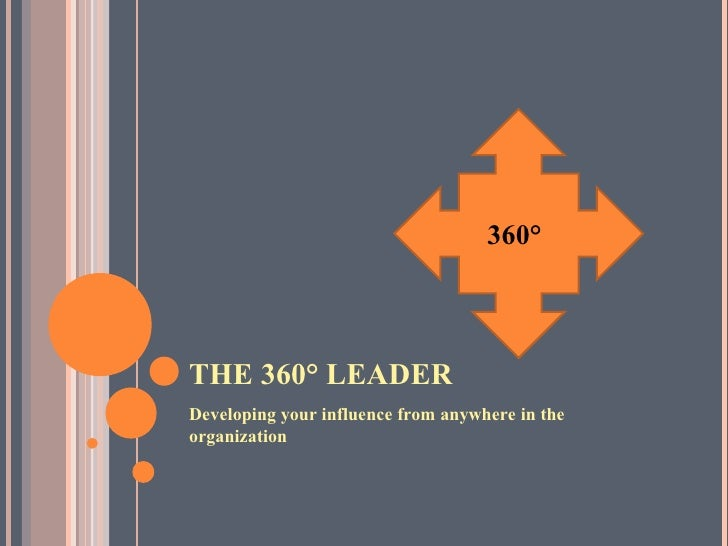 THE 360° LEADER <ul><li>Developing your influence from anywhere in the organization </li></ul>360°
