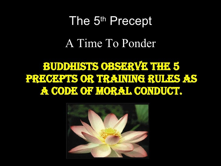 The 5 th  Precept A Time To Ponder Buddhists observe the 5 precepts or training rules as a code of moral conduct.