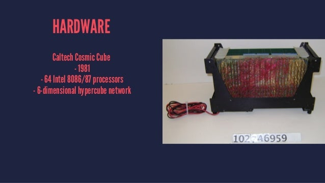 HARDWARE Caltech Cosmic Cube - 1981 - 64 Intel 8086/87 processors - 6-dimensional hypercube network