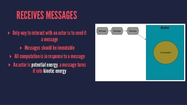 RECEIVES MESSAGES ▸ Only way to interact with an actor is to send it a message ▸ Messages should be immutable ▸ All comput...