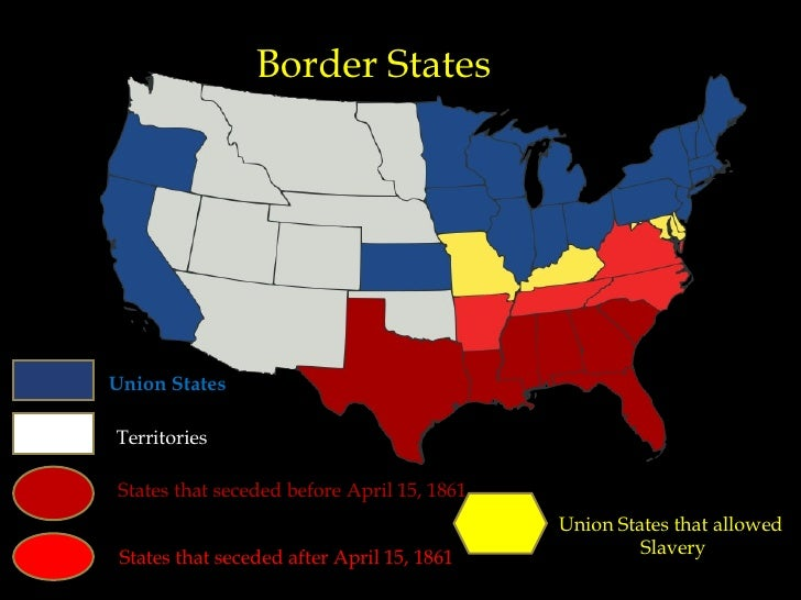 The American Civil War Compatible - Union confederate us territories and border states map
