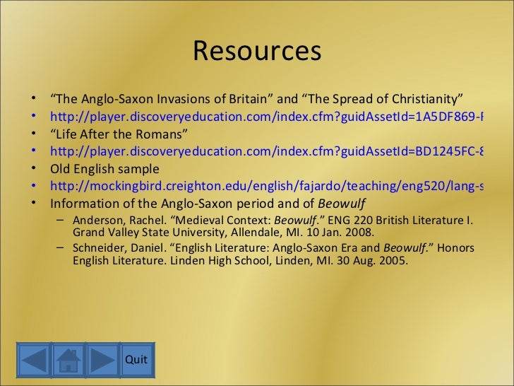 """Resources <ul><li>"""" The Anglo-Saxon Invasions of Britain"""" and """"The Spread of Christianity"""" </li></ul><ul><li>http://player..."""