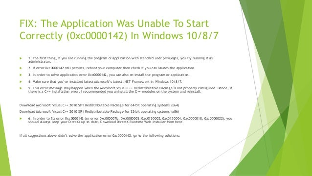 FIX] The application was unable to start correctly (0xc0000142)