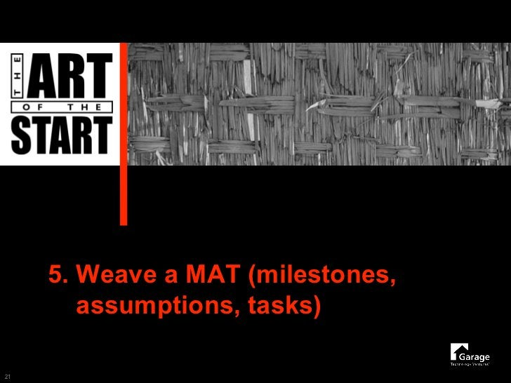 5. Weave a MAT (milestones,         assumptions, tasks)  21
