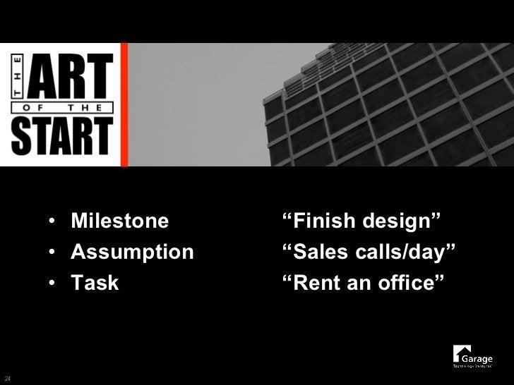 "• Milestone    ""Finish design""      • Assumption   ""Sales calls/day""      • Task         ""Rent an office""    24"
