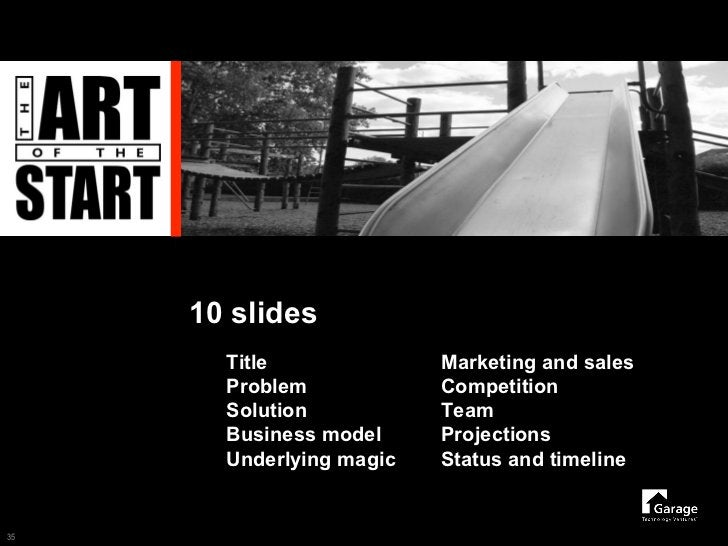 10 slides        Title              Marketing and sales        Problem            Competition        Solution           Te...