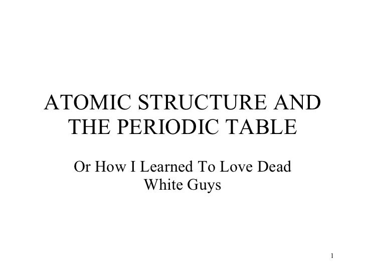 ATOMIC STRUCTURE AND THE PERIODIC TABLE Or How I Learned To Love Dead White Guys