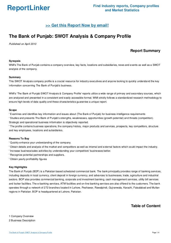 Punjab National Bank SWOT Analysis, Competitors & USP