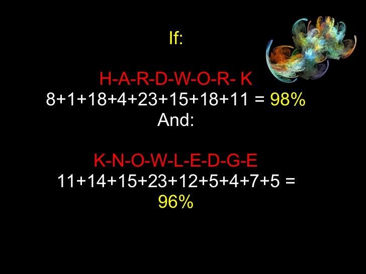 If: H-A-R-D-W-O-R- K 8+1+18+4+23+15+18+11 =  98% And: K-N-O-W-L-E-D-G-E 11+14+15+23+12+5+4+7+5 =  96%