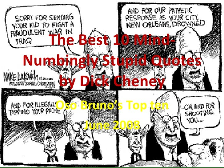 The Best 10 Mind-Numbingly Stupid Quotes by Dick Cheney Oso Bruno's Top ten June 2008