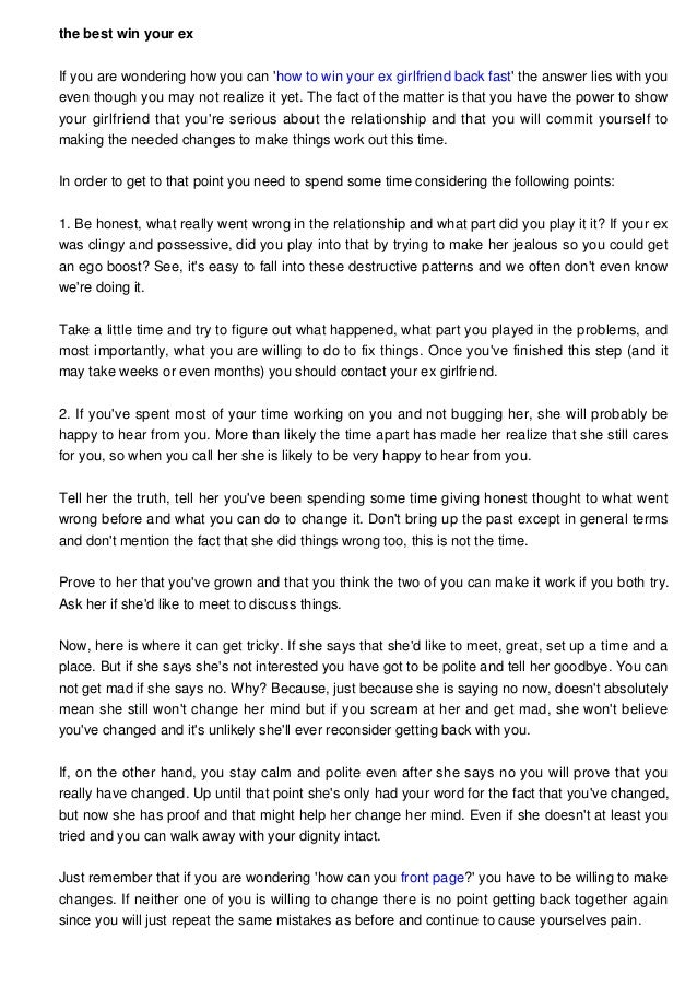 Things to say to win your girlfriend back